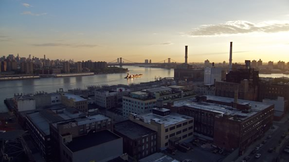 "Sunrise from 20 stories above the East River"" width="